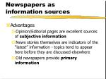 newspapers as information sources