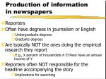 production of information in newspapers
