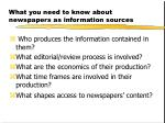 what you need to know about newspapers as information sources