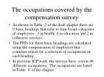 the occupations covered by the compensation survey