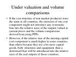 under valuation and volume comparisons