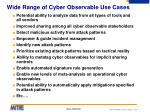 wide range of cyber observable use cases