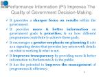 performance information pi improves the quality of government decision making