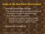 goals of the new work environment
