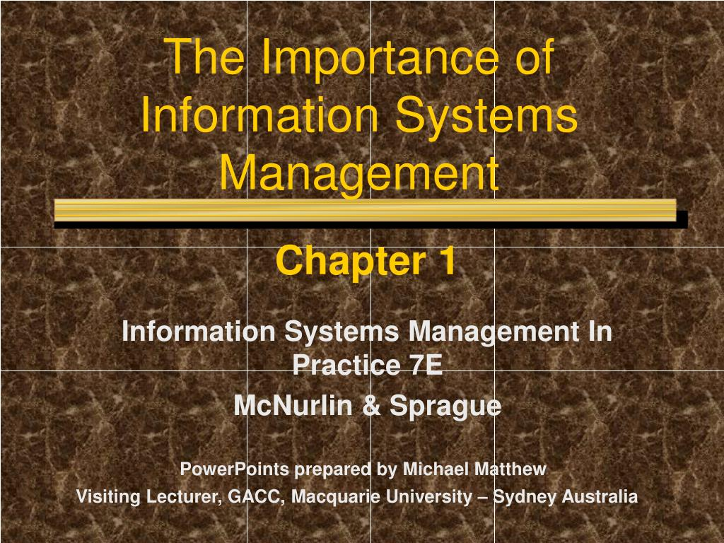 the importance of information systems management l.