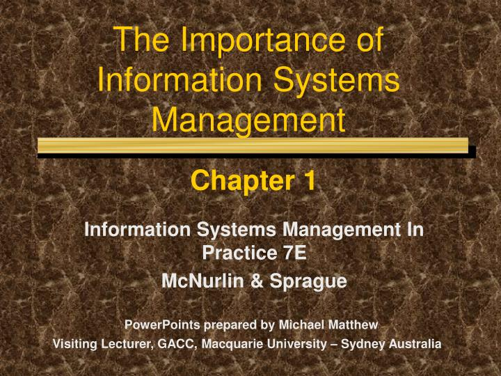 the importance of information systems management n.