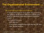 the organizational environment cont