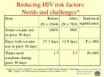 reducing hiv risk factors needs and challenges