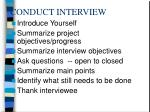 conduct interview