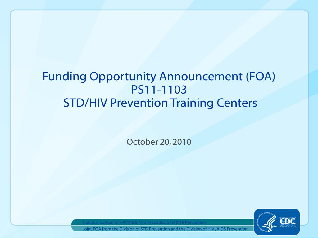 funding opportunity announcement foa ps11 1103 std hiv prevention training centers l.