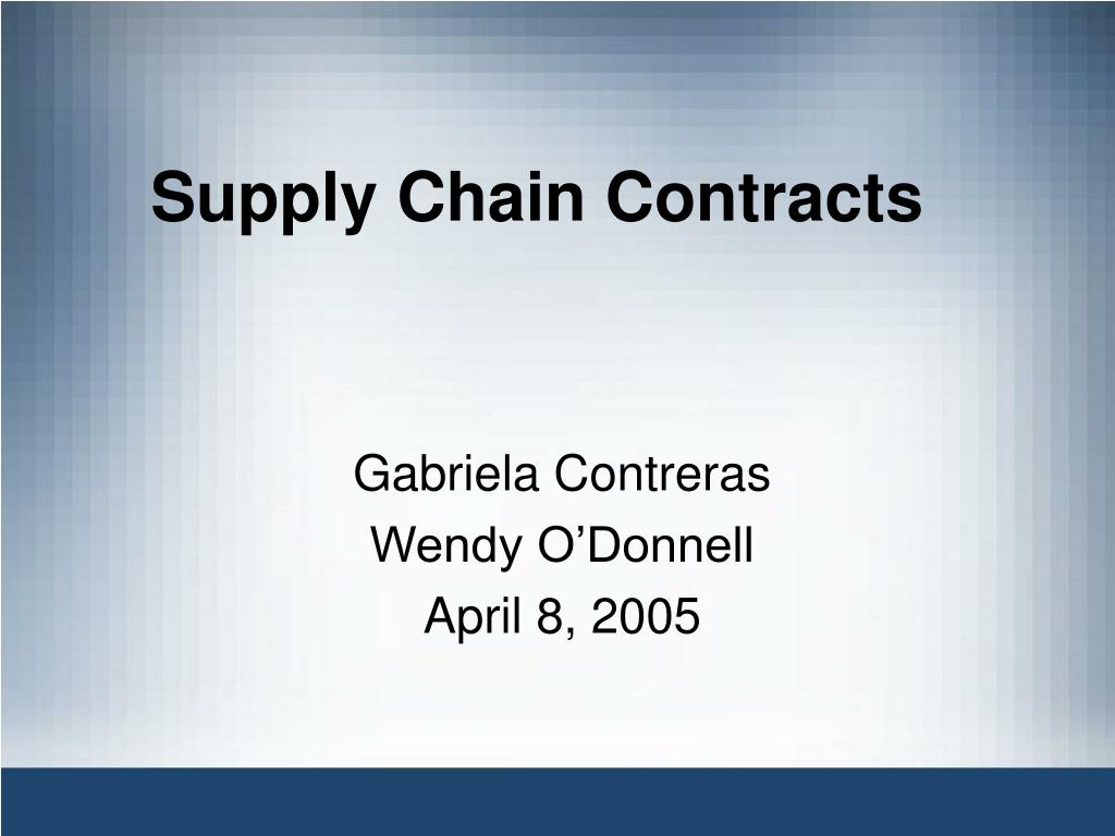 supply chain contracts l.