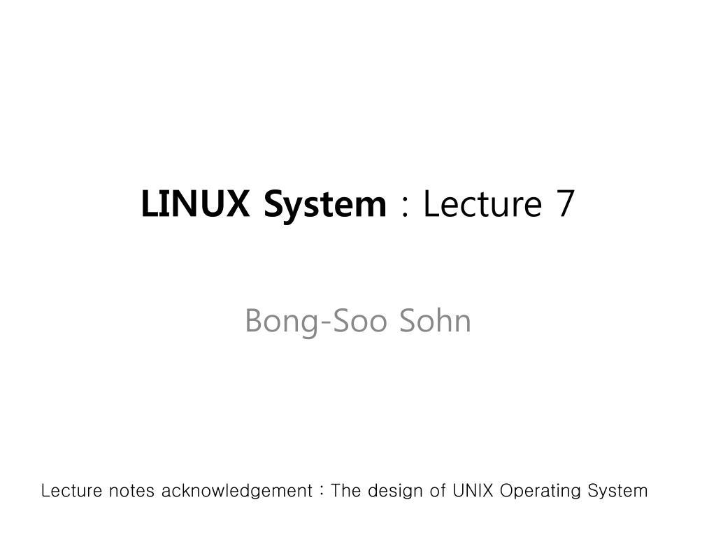 linux system lecture 7 l.