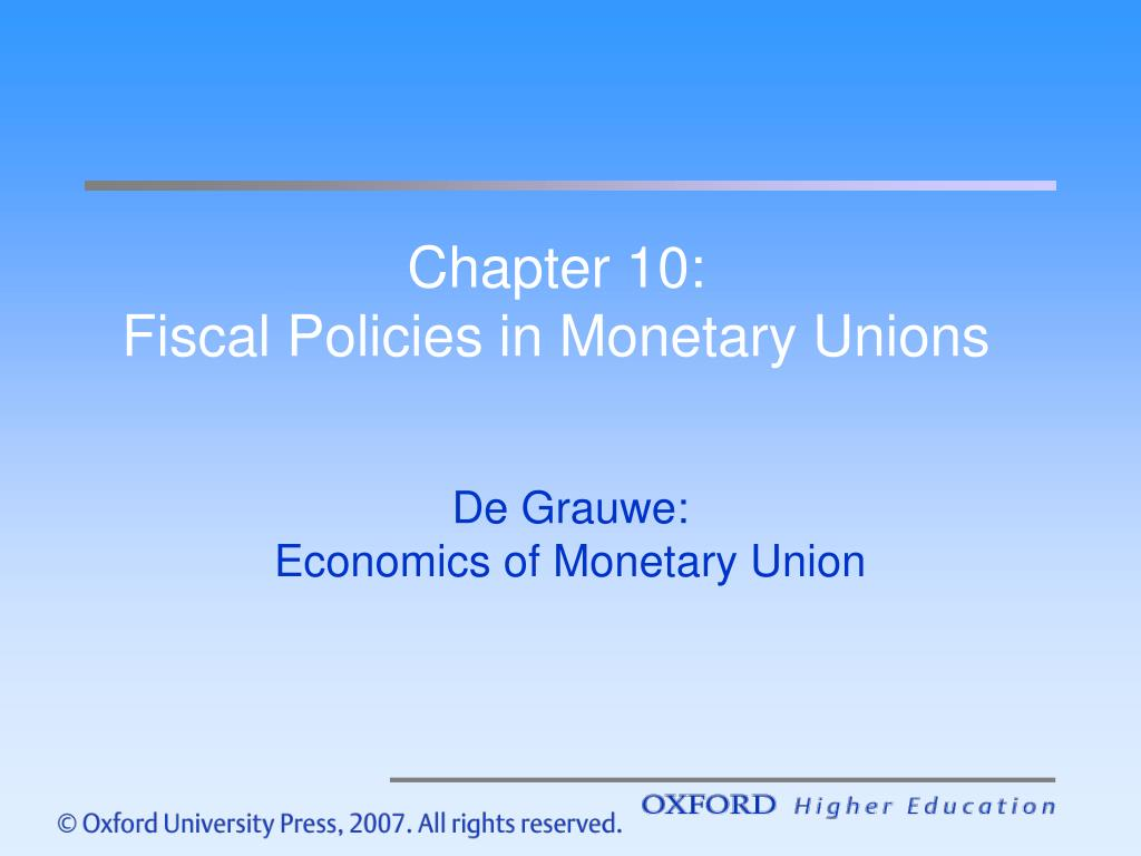 chapter 10 fiscal policies in monetary unions l.