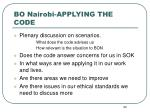 bo nairobi applying the code