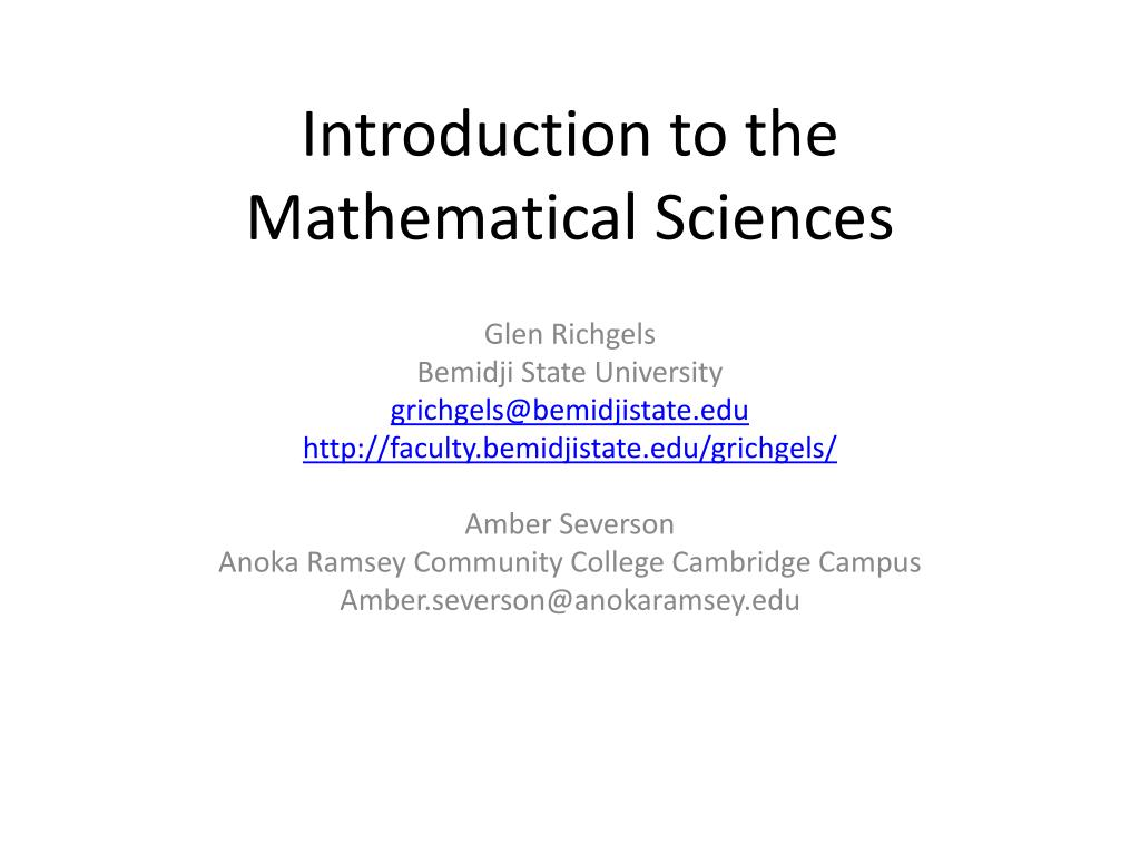 introduction to the mathematical sciences l.