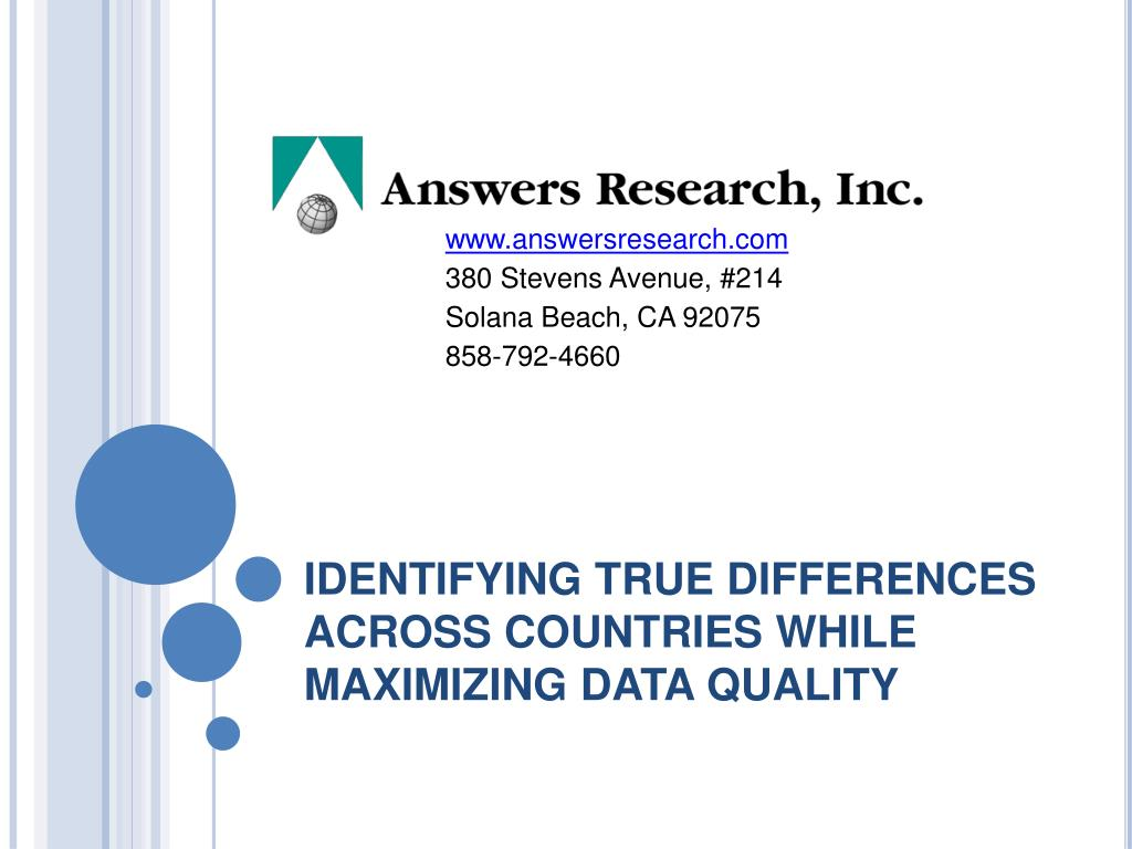 identifying true differences across countries while maximizing data quality l.