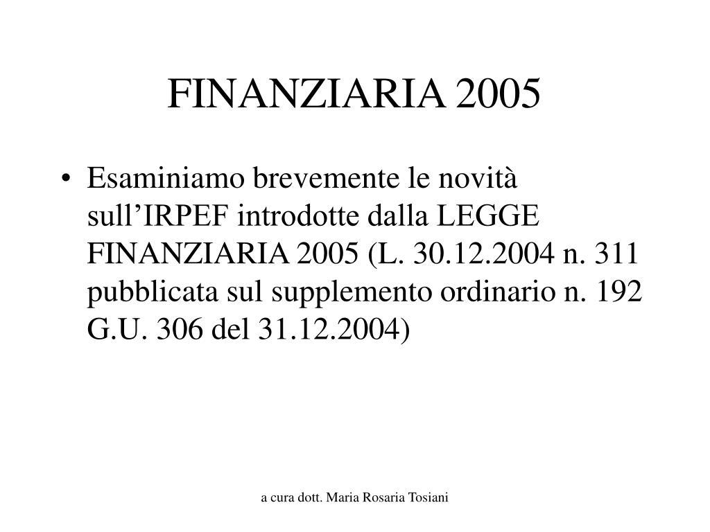 finanziaria 2005 l.