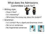 what does the admissions committee look for