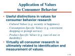 application of values to consumer behavior