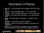description of rashes