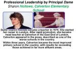 professional leadership by principal dame sharon hollows calverton elementary school