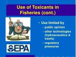 use of toxicants in fisheries cont