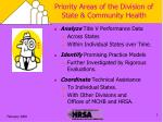 priority areas of the division of state community health