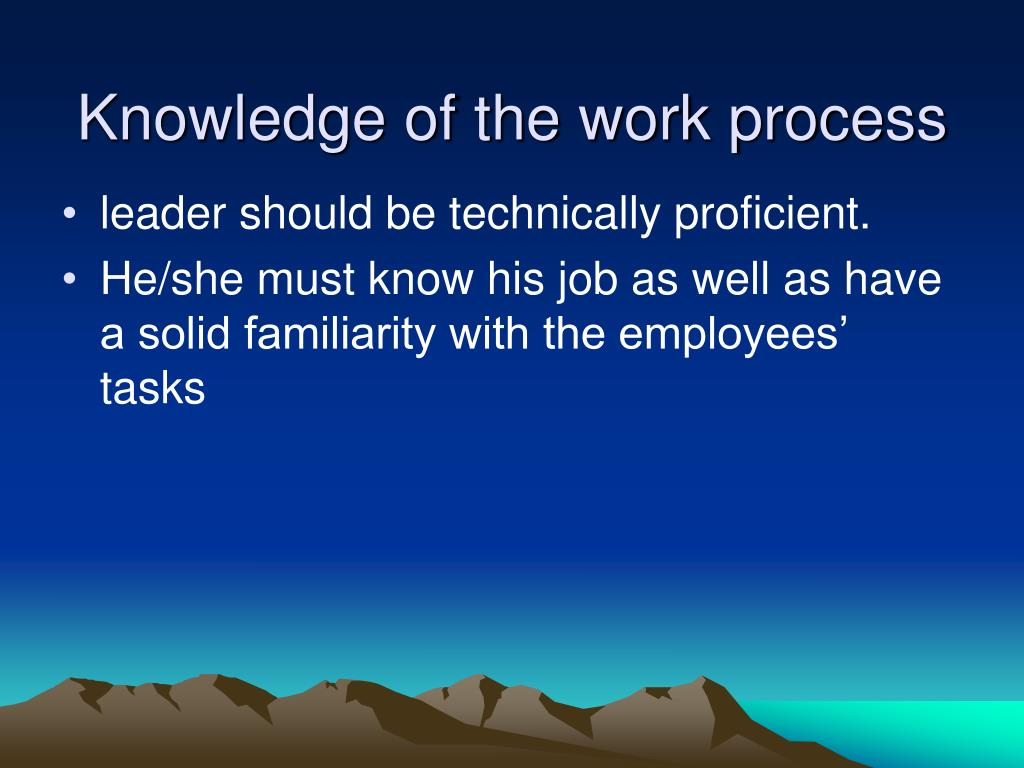 Knowledge of the work process