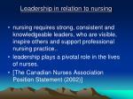 leadership in relation to nursing