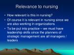 relevance to nursing