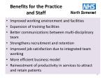 benefits for the practice and staff