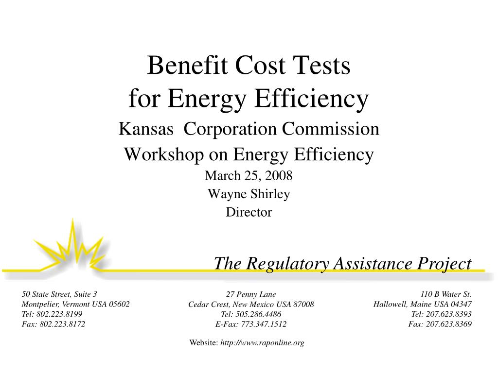benefit cost tests for energy efficiency l.