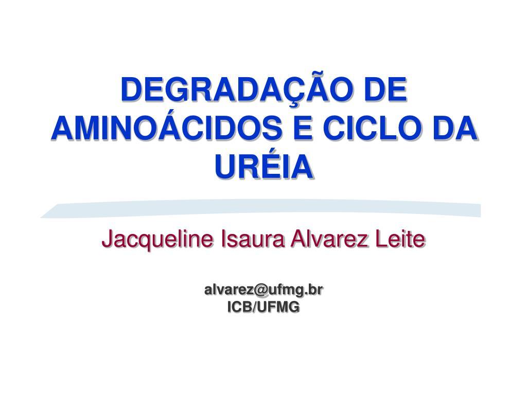 degrada o de amino cidos e ciclo da ur ia jacqueline isaura alvarez leite alvarez@ufmg br icb ufmg l.