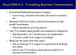 royal dsm n v it enabling business transformation