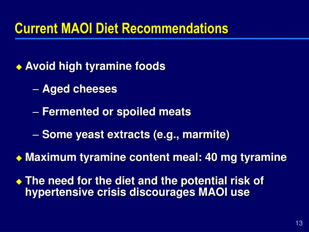 Current MAOI Diet Recommendations