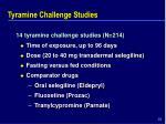 tyramine challenge studies