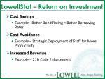 lowellstat return on investment23