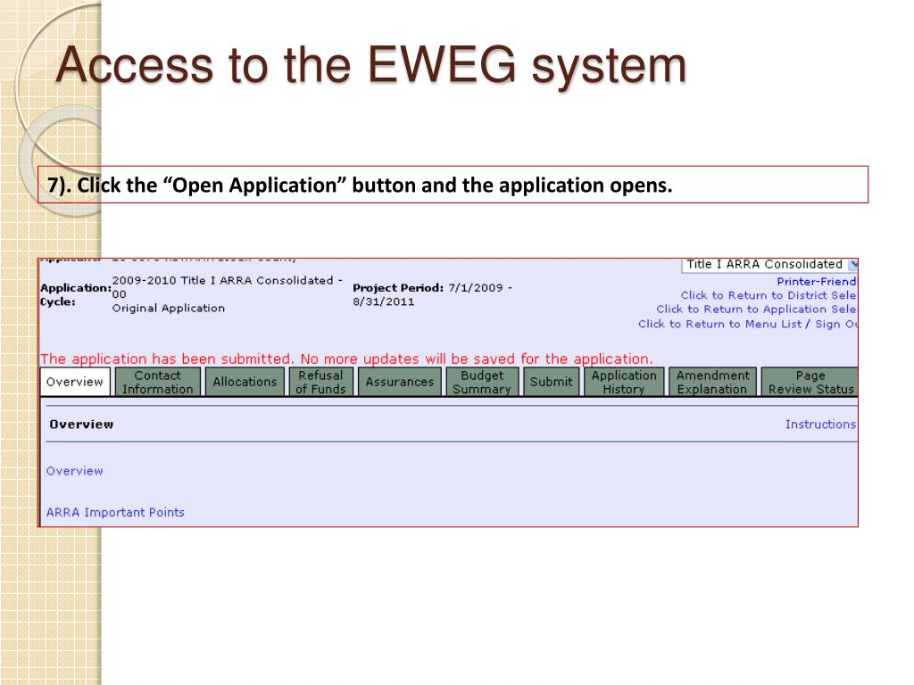 Access to the EWEG system