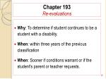 chapter 193 re evaluations