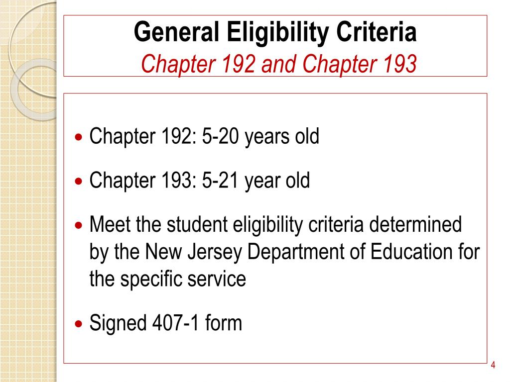 General Eligibility Criteria