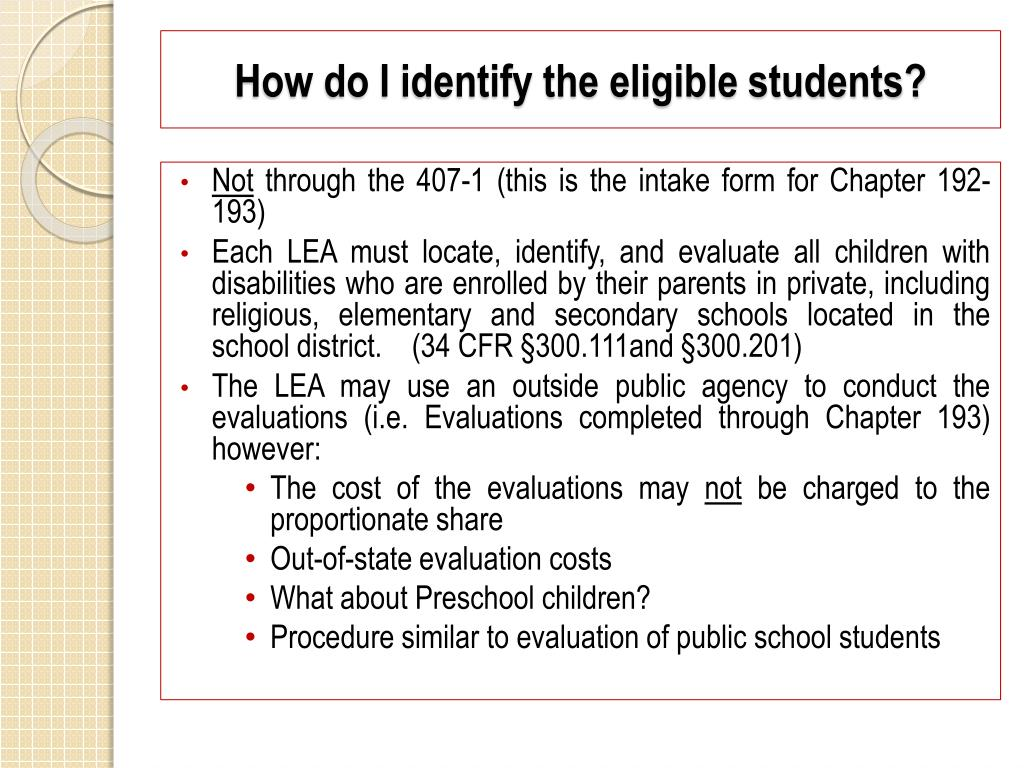 How do I identify the eligible students?