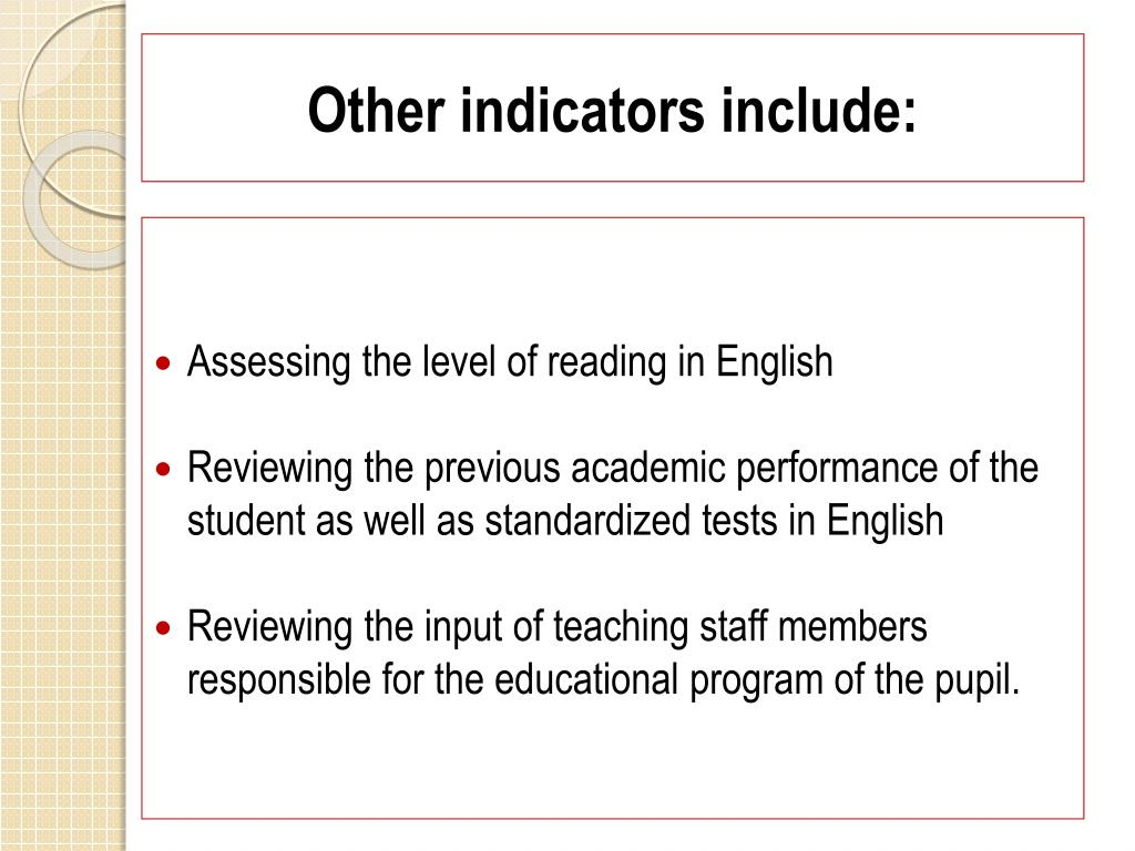Other indicators include: