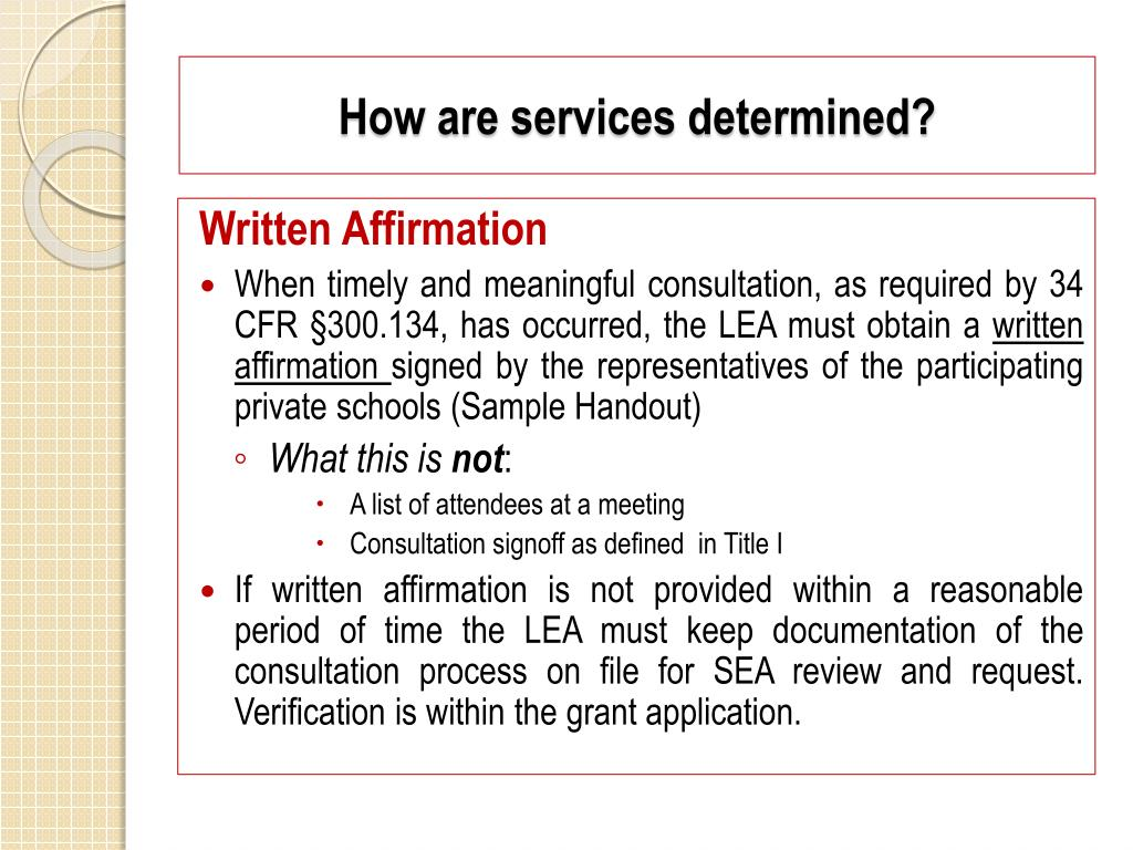 How are services determined?