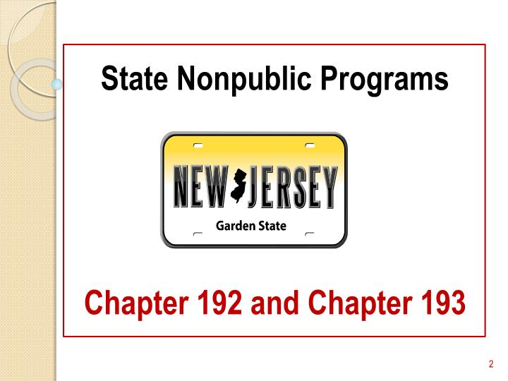 State nonpublic programs chapter 192 and chapter 193