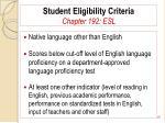 student eligibility criteria chapter 192 esl