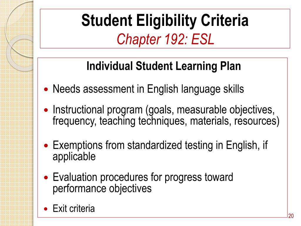 Student Eligibility Criteria
