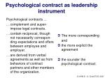 psychological contract as leadership instrument