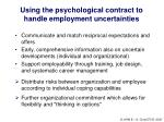 using the psychological contract to handle employment uncertainties