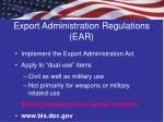 export administration regulations ear
