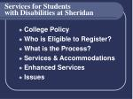 services for students with disabilities at sheridan